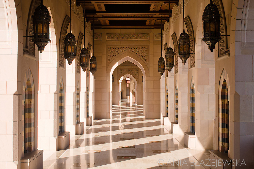 Oman, Al-Ghubrah. One of the outstanding galleries in the Grand Mosque.