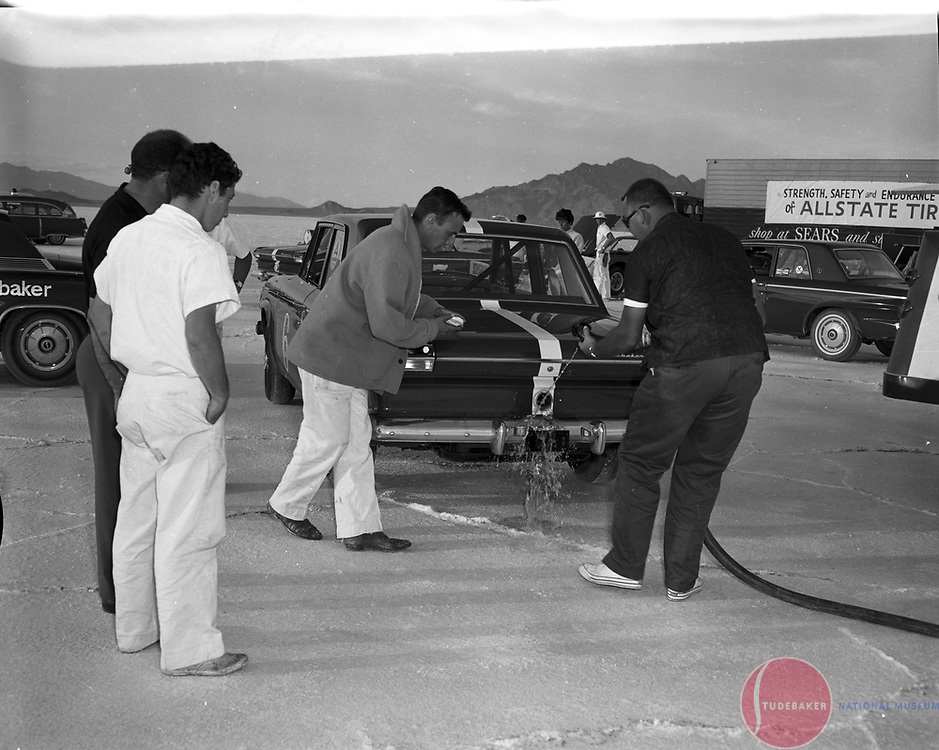 Refueling the #6 Studebaker Commander at the Bonneville Salt Flats, October 1963.