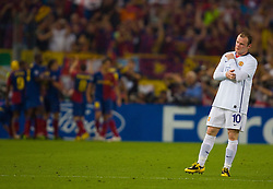 ROME, ITALY - Tuesday, May 26, 2009: Manchester United's Wayne Rooney looks dejected as Barcelona score the second goal during the UEFA Champions League Final at the Stadio Olimpico. (Pic by Carlo Baroncini/Propaganda)