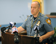 Falls Township Police Lieutenant Henry Ward updates the media on the investigation of a stabbing murder Monday, September 12, 2016 on the 6200 block of Foster Drive in Falls Township, Pennsylvania.  (Photo by William Thomas Cain)