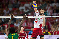 06.09.2014, Jahrhunderthalle, Breslau, POL, FIVB WM, Kamerun vs Polen, Gruppe A, im Bild Olivier Nongni Zanguim Mefani cameroon #1 Marcin Mozdzonek poland #18 // Olivier Nongni Zanguim Mefani cameroon #1 Marcin Mozdzonek poland #18 // during the FIVB Volleyball Men's World Championships Pool A Match beween Cameroon and Poland at the Jahrhunderthalle in Breslau, Poland on 2014/09/06.<br /> <br /> ***NETHERLANDS ONLY***