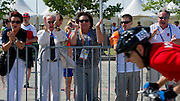 (L-R) Jolanta Kwasniewska - Former First Lady of Poland & Polish Ambassador in Athens & Anna Komorowska - First Lady of Poland & Krzysztof Krukowski - Director Organizational Development Europe Eurasia Region Special Olympics & Janusz Wesolowski while cycling competition during 2011 Special Olympics World Summer Games Athens on June 27, 2011..The idea of Special Olympics is that, with appropriate motivation and guidance, each person with intellectual disabilities can train, enjoy and benefit from participation in individual and team competitions...Greece, Athens, June 27, 2011...Picture also available in RAW (NEF) or TIFF format on special request...For editorial use only. Any commercial or promotional use requires permission...Mandatory credit: Photo by © Adam Nurkiewicz / Mediasport