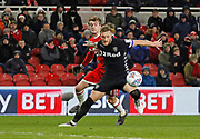 Leeds United defender Liam Cooper shields the ball from Patrick Bamford of Middlesbrough during the EFL Sky Bet Championship match between Middlesbrough and Leeds United at the Riverside Stadium, Middlesbrough, England on 2 March 2018. Picture by Paul Thompson.