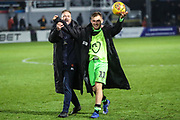 Hat trick hero Forest Green Rovers George Williams(11) with Forest Green Rovers assistant manager, Scott Lindsey during the EFL Sky Bet League 2 match between Newport County and Forest Green Rovers at Rodney Parade, Newport, Wales on 26 December 2018.