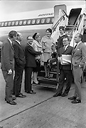 Miss Ann Foley,  Rose of Tralee boarding the Aer Lingus Boeing on route to the United States for two weeks as part of her prize. She is wearing an Irish Tweed cape suit by Gailwear, over a fine wool pink Donal Davies blouse, part of her complete wardrobe presented by Brown Thomas..11.10.1967