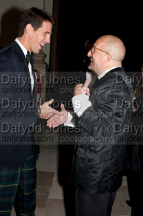 PRINCE PAVLOS OF GREECE; KIT HESKETH-HARVEY, Charity Dinner in aid of Caring for Courage The Royal Scots Dragoon Guards Afganistan Welfare Appeal. In the presence of the Duke of Kent. The Royal Hospital, Chaelsea. London. 20 October 2011. <br /> <br />  , -DO NOT ARCHIVE-© Copyright Photograph by Dafydd Jones. 248 Clapham Rd. London SW9 0PZ. Tel 0207 820 0771. www.dafjones.com.