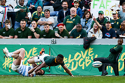 Durban. 180818.Aphiwe Dyanti of South Africa  during the Rugby Championship match between South Africa and Argentina at Jonsson Kings Park in Durban, South Africa. Picture Leon Lestrade. African News Agency/ANA
