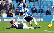 Fernando Forestieri of Sheffield Wednesday is fouled by George Thorne of Derby County during the Sky Bet Championship match at Hillsborough, Sheffield<br /> Picture by Graham Crowther/Focus Images Ltd +44 7763 140036<br /> 06/12/2015