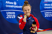 Maisie Summers-Newton of Great Britain with her Gold Medal after winning the Women's 200 m Individual Medley SM6 during the  World Para Swimming Championships 2019 Day 3 held at London Aquatics Centre, London, United Kingdom on 11 September 2019.