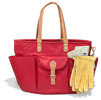 red nylon garden tote with leather handles and yellow leather gloves