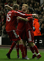 Photo: Paul Thomas.<br /> Liverpool v Bordeaux. UEFA Champions League, Group C. 31/10/2006.<br /> <br /> Liverpool's Luis Garcia (10) celebrates his goal with John Arne Riise (C) and Peter Crouch (L).