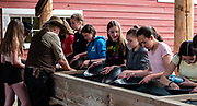 Girls pan for gold at Barkerville Historic Town & Park, British Columbia, Canada. Historically the main town of the Cariboo Gold Rush, Barkerville is now the largest living-history museum in Western North America. The town was named after Billy Barker from Cambridgeshire, England, who struck gold here in 1861, and his claim became the richest and the most famous. This National Historic Site nestles in the Cariboo Mountains at elevation 1200m (4000ft), at the end of BC Highway 26, 80 kilometres (50 mi) east of Quesnel. Gold here was first discovered at Hills Bar in 1858, followed by other strikes in 1859 and 1860. Wide publication of these discoveries in 1861 began the Cariboo Gold Rush, which reached full swing by 1865 following strikes along Williams Creek. To license this Copyright photo, please inquire at PhotoSeek.com.