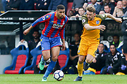 Crystal Palace #8 Ruben Loftus-Cheek battles with Brighton and Hove Albion midfielder Dale Stephens (6) during the Premier League match between Crystal Palace and Brighton and Hove Albion at Selhurst Park, London, England on 14 April 2018. Picture by Phil Duncan.