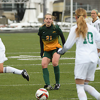 1st year defender Lauren Petras (21) of the Regina Cougars in action during the Women's Soccer  road trip to Saskatoon on October 9 at Griffiths Stadium. Credit: Arthur Ward/Arthur Images