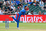 Mohammad Nabi of Afghanistan bowling during the ICC Cricket World Cup 2019 match between Afghanistan and Australia at the Bristol County Ground, Bristol, United Kingdom on 1 June 2019.