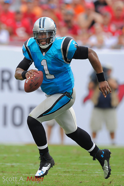 Carolina Panthers quarterback Cam Newton (1) runs upfield against the Tampa Bay Buccaneers  at Raymond James Stadium  on September 9, 2012 in Tampa, Florida.  The Bucs won 16-10..©2012 Scott A. Miller...