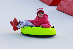 No fee for Repro: 22/01/2012.Emily Collins (6) from Malahide is pictured during World Snow Day at the Ski Club of Ireland in Kilternan who hosted a festival day of snowsports activities. Pic Andres Poveda.