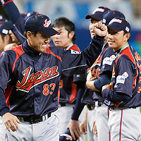 23 March 2009: Manager Tatsunori Hara of Japan celebrates after defeating Korea during the 2009 World Baseball Classic final game at Dodger Stadium in Los Angeles, California, USA. Japan defeated Korea 5-3