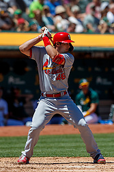 OAKLAND, CA - AUGUST 04:  Paul Goldschmidt #46 of the St. Louis Cardinals at bat against the Oakland Athletics during the third inning at the RingCentral Coliseum on August 4, 2019 in Oakland, California. The Oakland Athletics defeated the St. Louis Cardinals 4-2. (Photo by Jason O. Watson/Getty Images) *** Local Caption *** Paul Goldschmidt