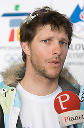 Slovenian alpine skier Andrej Jerman at arrival to Airport Joze Pucnik from Vancouver after Winter Olympic games 2010, on February 23, 2010 in Brnik, Slovenia. (Photo by Vid Ponikvar / Sportida)
