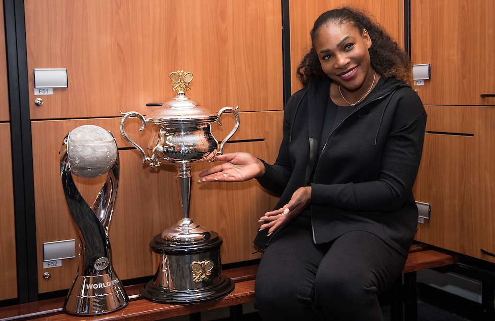 Serena Williams in the locker room after the women's final on day thirteen of the 2017 Australian Open at Melbourne Park on January 28, 2017 in Melbourne, Australia.<br /> (Ben Solomon/Tennis Australia)