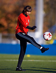 SAINT PETERSBURG, RUSSIA - Monday, October 23, 2017: Wales' Amina Vine during a training session at the Petrovsky Minor Sport Arena ahead of the FIFA Women's World Cup 2019 Qualifying Group 1 match between Russia and Wales. (Pic by David Rawcliffe/Propaganda)