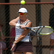 Mary Boswell, USA,  in action in the 75 Womens Singles Final during the 2009 ITF Super-Seniors World Team and Individual Championships at Perth, Western Australia, between 2-15th November, 2009