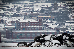 © Licensed to London News Pictures . Oldham , UK . FILE PICTURE DATED 12/01/2013 of Oldham in the snow . Oldham has been named England's most deprived town by the Office for National Statistics today (18th March 2016) . Photo credit : Joel Goodman/LNP