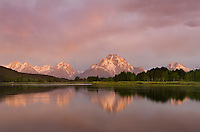 Sunrise over Mount Moran at Oxbow Bend, Grand Teton National Park Wyoming