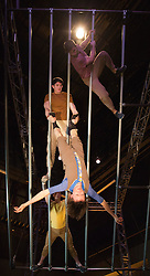 "© Licensed to London News Pictures. 10/01/2013. London, England. L-R: Alex Harvey, Charlotte Mooney and Luke Horley. ""Not Until We Are Lost"", performed by the aerial theatre group ""Ockham's Razor"" for the start of the London International Mime Festival 2013 at the new Platform Theatre King's Cross. The London International Mime Festival (LIMF'13) runs from 10 to 27 January 2013. Performers: Alex Harvey (red T-shirt), Luke Horley (brown T-shirt), Tina Koch (blue T-shirt) and Charlotte Mooney (yellow T-shirt). Photo credit: Bettina Strenske/LNP"
