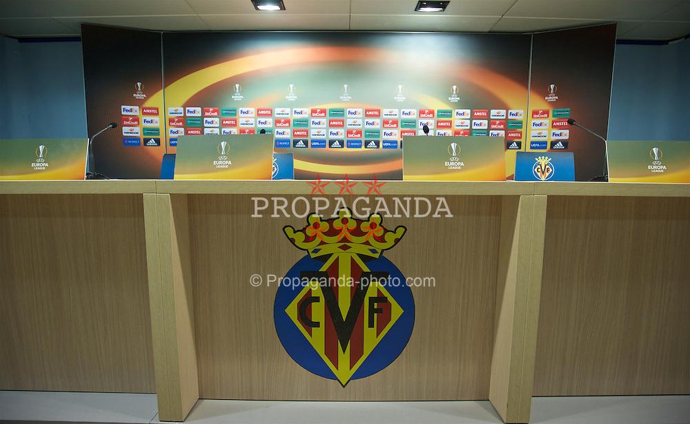VILLRREAL, SPAIN - Wednesday, April 27, 2016: The press conference room ahead of Liverpool's UEFA Europa League Semi-Final 1st Leg match against Villarreal CF at Estadio El Madrigal. (Pic by David Rawcliffe/Propaganda)