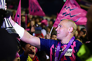 Sergio Parisse shows fans the Cup after victory in the European Rugby Challenge Cup match between Gloucester Rugby and Stade Francais at BT Murrayfield, Edinburgh, Scotland on 12 May 2017. Photo by Kevin Murray.