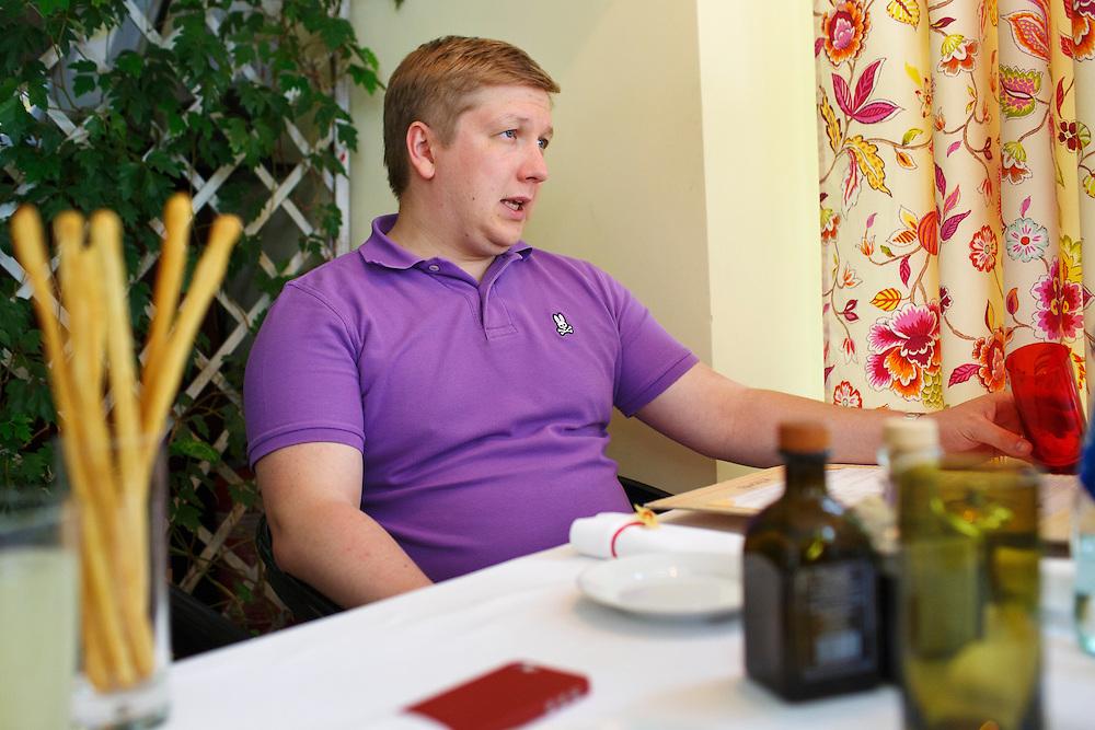 Andriy Kobolev, CEO and Chairman of Naftogaz, meets with a journalist from Die Zeit at La Veranda restaurant on May 30, 2015 in Kyiv, Ukraine.