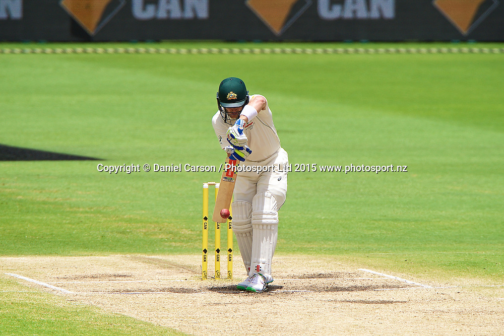Peter Nevill of Australia plays defensively during Day 5 on the 17th of November 2015. The New Zealand Black Caps tour of Australia, 2nd test at the WACA ground in Perth, 13 - 17th of November 2015.   Photo: Daniel Carson / www.photosport.nz