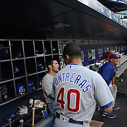 NEW YORK, NEW YORK - June 30: Willson Contreras #40 of the Chicago Cubs in the dugout preparing to bat during the Chicago Cubs Vs New York Mets regular season MLB game at Citi Field on June 30, 2016 in New York City. (Photo by Tim Clayton/Corbis via Getty Images)