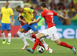 ROSTOV-ON-DON, June 17, 2018  Neymar (L) of Brazil competes during a group E match between Brazil and Switzerland at the 2018 FIFA World Cup in Rostov-on-Don, Russia, June 17, 2018. (Credit Image: © Lu Jinbo/Xinhua via ZUMA Wire)
