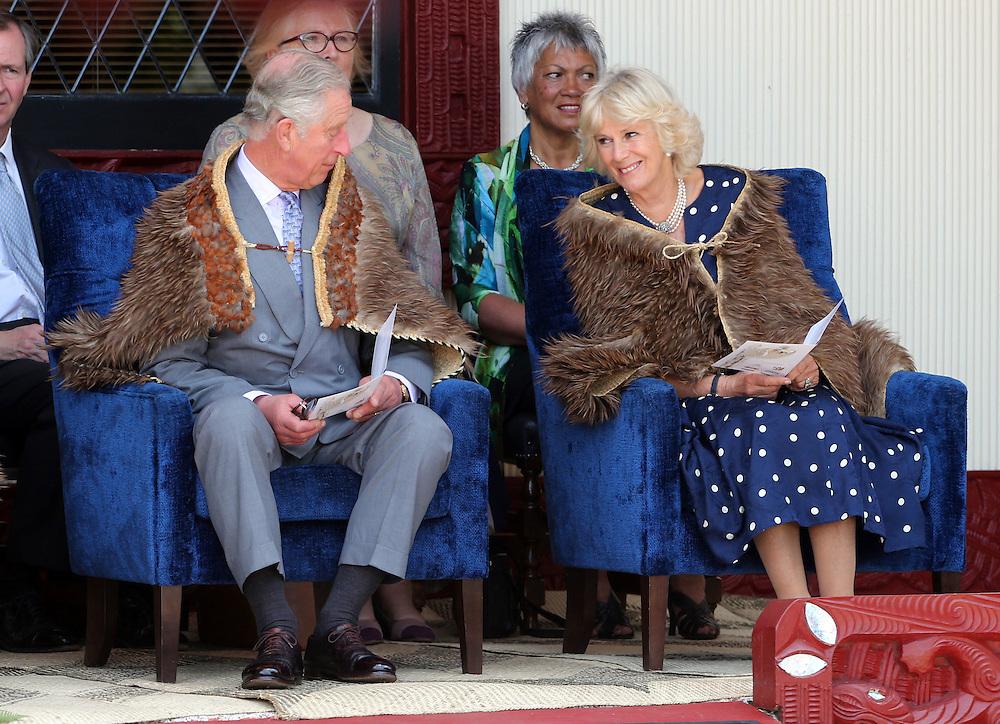 Prince Charles, Prince of Wales and Camilla, Duchess of Cornwall share a lighter moment during their visit to Turangawaewae Marae, Hamilton, New Zealand, Sunday, November 08, 2015. Credit:SNPA / David Rowland **POOL**