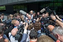 17.07.2012, FIFA Hauptsitz, Zuerich, SUI, FIFA Exekutiv Komitee Pressekonferenz, im Bild Theo Zwanziger gibt vor dem FIFA Hauptsitz Auskunft // during the FIFA Executive Committee press conference at the FIFA Headquater, Zuerich, Switzerland on 2012/07/17. EXPA Pictures © 2012, PhotoCredit: EXPA/ Freshfocus/ Andy Mueller..***** ATTENTION - for AUT, SLO, CRO, SRB, BIH only *****