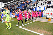 Hartlepool players enter the ground  during the EFL Sky Bet League 2 match between Colchester United and Hartlepool United at the Weston Homes Community Stadium, Colchester, England on 25 February 2017. Photo by Ian  Muir.