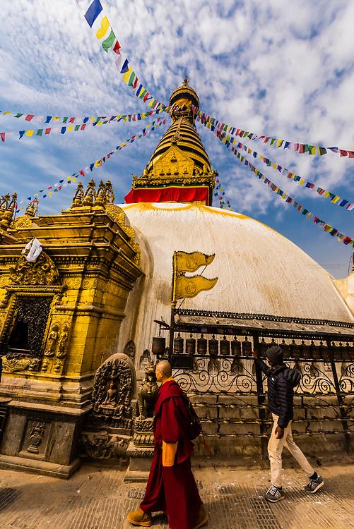 The Swayambhunath Stupa. The temple sits atop a hill west of Kathmandu, Nepal.