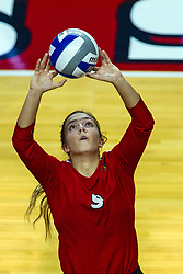 BLOOMINGTON, IL - September 28: Stef Jankiewicz during a college Women's volleyball match between the ISU Redbirds and the Southern Illinois Salukis on September 28 2019 at Illinois State University in Normal, IL. (Photo by Alan Look)
