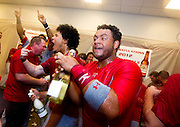 Audry Perez (5) of the Springfield Cardinals celebrates with teammates after game 4 of the Texas League Championship Series against the Frisco RoughRiders at Dr. Pepper BallPark on September 15, 2012 in Frisco, TX.  The Cardinals became the 2012 Texas League Champions after defeating the RoughRiders 2-1. (David Welker/Four Seam Images)