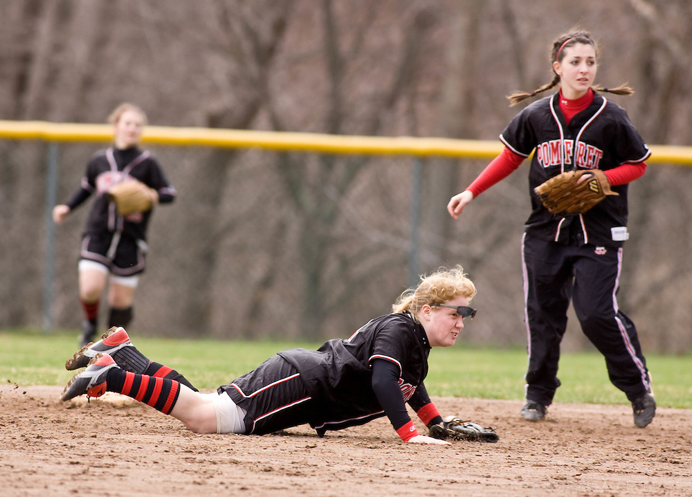 POMFRET, CONNECTICUT- APRIL 2009: The Pomfret School. Softball. Spring 2009. (Photo by Robert Falcetti - www.robertfalcetti.com). .