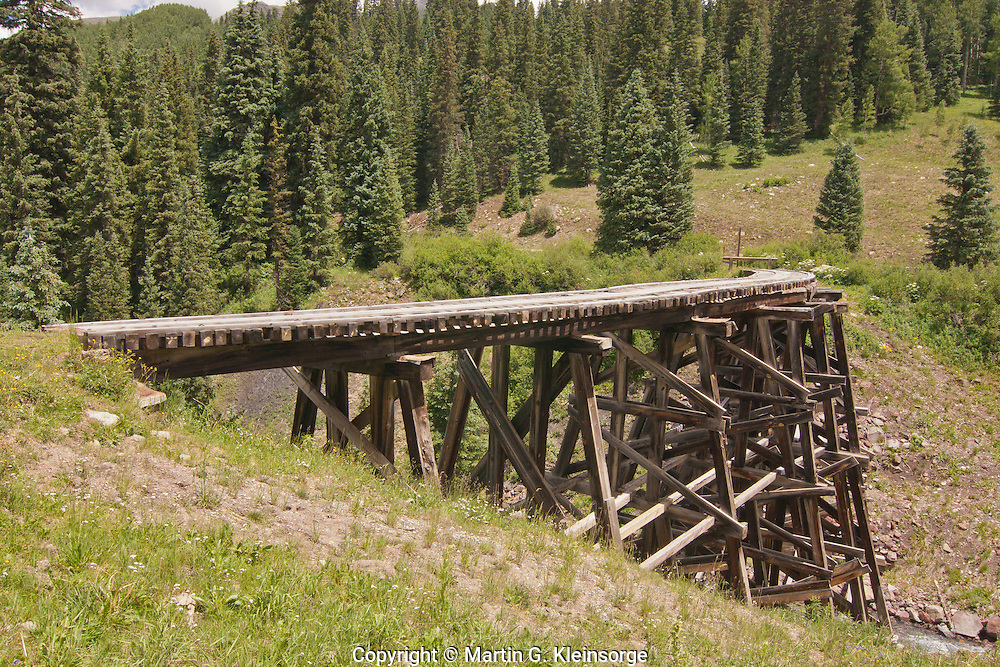Historic Trout Lake railroad trestle.  San Juan Mountains, Colorado