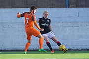 Dundee&rsquo;s Ian Smith takes on Dundee United's Archie Thomas - Dundee under 20s v Dundee United in the SPFL Development League at Links Park, Montrose<br /> <br />  - &copy; David Young - www.davidyoungphoto.co.uk - email: davidyoungphoto@gmail.com