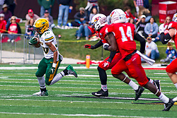 NORMAL, IL - October 05: Saybein Clark hits the flats on the right side during a college football game between the ISU (Illinois State University) Redbirds and the North Dakota State Bison on October 05 2019 at Hancock Stadium in Normal, IL. (Photo by Alan Look)