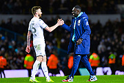 Leeds United forward Jean-Kevin Augustin (29) and Leeds United defender Stuart Dallas (15) reacts to winning 3-2 during the EFL Sky Bet Championship match between Leeds United and Millwall at Elland Road, Leeds, England on 28 January 2020.