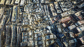Aerial View Of 6,000 Scrap Cars After A Fire