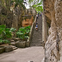 The Queen Stair Case aka 66 steps carved out of the soft lime stone by hand.