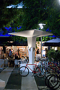 The Lincoln Road pedestrian mall in South Beach, lined with sidewalk cafes and chic shops, features space-age, Miami Modern (MiMo) structures like this one designed by architect Morris Lapidus circa 1959.
